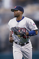 Torii Hunter of the Minnesota Twins during a 2002 MLB season game against the Los Angeles Angels at Angel Stadium, in Anaheim, California. (Larry Goren/Four Seam Images)