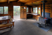 Juneau Lake Cabin, Juneau Lake, Resurrection Pass Trail, Kenai Peninsula, Chugach National Forest, Alaska.