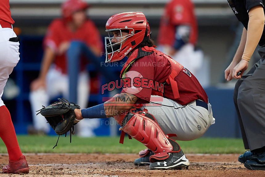 Mahoning Valley Scrappers catcher Jason Rodriguez (9) waits to receive a pitch during a game against the Williamsport Crosscutters on August 28, 2018 at BB&T Ballpark in Williamsport, Pennsylvania.  Williamsport defeated Mahoning Valley 8-0.  (Mike Janes/Four Seam Images)