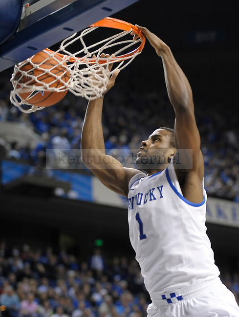 Darius Miller (1) dunks the ball during the second half of the University of Kentucky Basketball game against Chattanooga at Rupp Arena in Lexington, Ky., on 12/17/11. UK won the game 87-62. Photo by Mike Weaver | Staff
