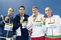 (L to R)  SANTOS Nicholas BRA silver; MANAUDOU Florent FRA Gold; CZERNIAK Konrad POL and CSEH Laszlo HUN Bronze ex-aequo 50 Butterfly men<br /> Swimming Nuoto Kazan Arena<br /> Day11 03/08/2015 Evening Finals<br /> XVI FINA World Championships Aquatics Swimming<br /> Kazan Tatarstan RUS July 24 - Aug. 9 2015 <br /> Photo G.Scala/Deepbluemedia/Insidefoto
