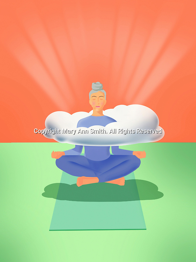 Woman levitating practising yoga with head in the clouds