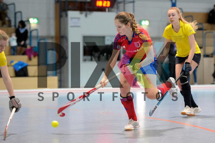 GER - Mannheim, Germany, January 17: During the Oberliga-Damen indoor hockey match between Feudenheimer HC (red) and  TSV Ludwigsburg (yellow) on January 17, 2016 at Irma-Roechling-Halle in Mannheim, Germany. Final score 8-2 (HT 3-1).  Roswitha Posset #16 of Feudenheimer HC<br /> <br /> Foto &copy; PIX-Sportfotos *** Foto ist honorarpflichtig! *** Auf Anfrage in hoeherer Qualitaet/Aufloesung. Belegexemplar erbeten. Veroeffentlichung ausschliesslich fuer journalistisch-publizistische Zwecke. For editorial use only.