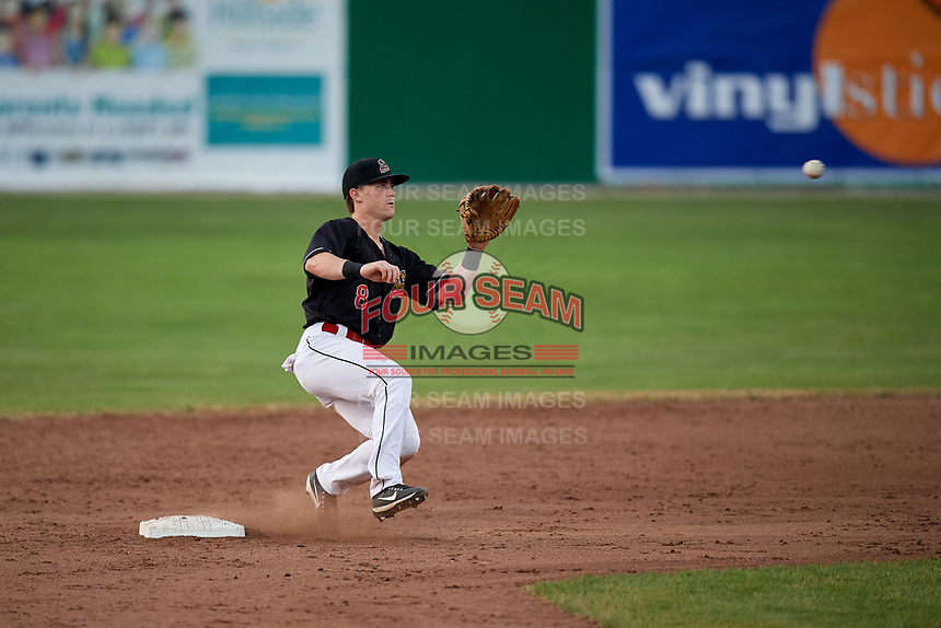 Batavia Muckdogs second baseman Luke Jarvis (8) waits to receive a throw during a game against the West Virginia Black Bears on July 2, 2018 at Dwyer Stadium in Batavia, New York.  West Virginia defeated Batavia 3-1.  (Mike Janes/Four Seam Images)