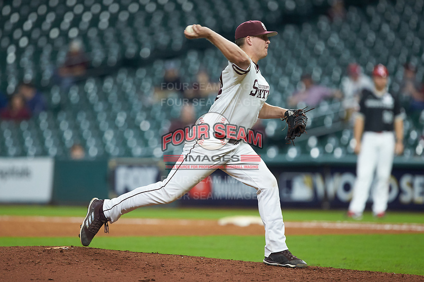 Mississippi State Bulldogs relief pitcher Riley Self (14) in action against the Houston Cougars in game six of the 2018 Shriners Hospitals for Children College Classic at Minute Maid Park on March 3, 2018 in Houston, Texas. The Bulldogs defeated the Cougars 3-2 in 12 innings. (Brian Westerholt/Four Seam Images)