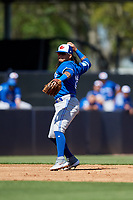 Toronto Blue Jays shortstop Freddy Galvis (16) throws to first base during a Grapefruit League Spring Training game against the New York Yankees on February 25, 2019 at George M. Steinbrenner Field in Tampa, Florida.  Yankees defeated the Blue Jays 3-0.  (Mike Janes/Four Seam Images)