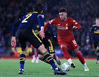 30th October 2019; Anfield, Liverpool, Merseyside, England; English Football League Cup, Carabao Cup, Liverpool versus Arsenal; Alex Oxlade-Chamberlain of Liverpool  takes on Hector Bellerin of Arsenal on the edge of the penalty area - Strictly Editorial Use Only. No use with unauthorized audio, video, data, fixture lists, club/league logos or 'live' services. Online in-match use limited to 120 images, no video emulation. No use in betting, games or single club/league/player publications