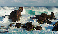 Rocky coastline at Hookipa on Maui in Hawaii