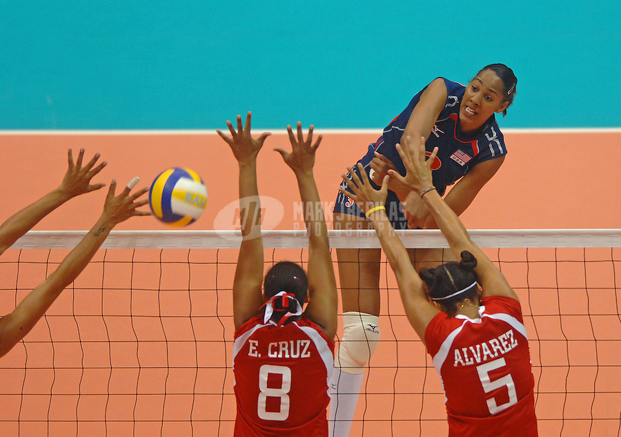 Jul 15, 2007; Rio de Janeiro, Brazil; Tayyiba Haneef-Park (USA) spikes the ball against Puerto Rico during the preliminary round of womens volleyball at the Ginasio do Maracanazinho in the Pan American Games at the Multipurpose Arena in Rio de Janeiro. United States defeated Puerto Rico 3-1. Mandatory Credit: Mark J. Rebilas-US PRESSWIRE Copyright © 2007 Mark J. Rebilas