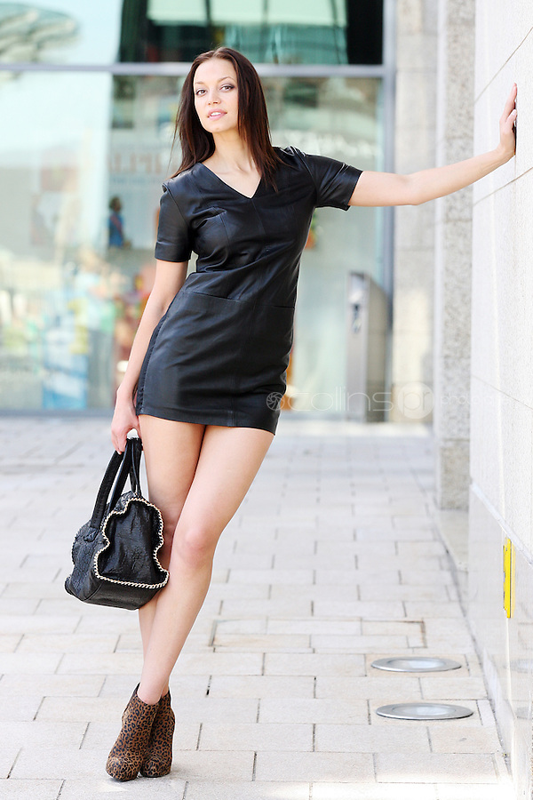 31/8/2010. Dundrum Town Center preview Autumn Winter 2010 Collection. Model Irma is pictured wearing a a leather dress from H+M EUR99, Leopard boots from LK Bennett EUR320 and a bag from Zara EUR129 at the Dundrum Town Centre . Picture James Horan/Collins