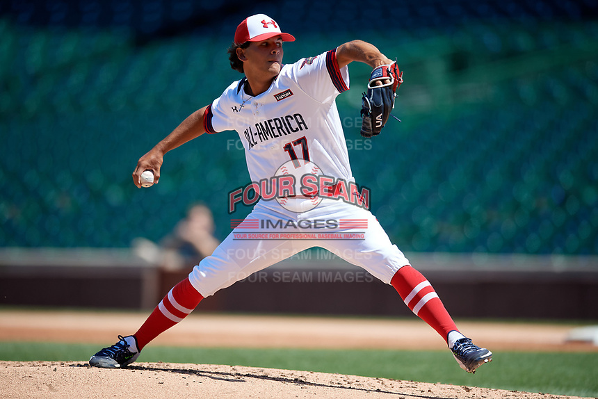 Pitcher Jared Jones (17) during the Under Armour All-America Game, powered by Baseball Factory, on July 22, 2019 at Wrigley Field in Chicago, Illinois.  Jared Jones attends La Mirada High School in Whittier, California and is committed to the University of Texas.  (Mike Janes/Four Seam Images)