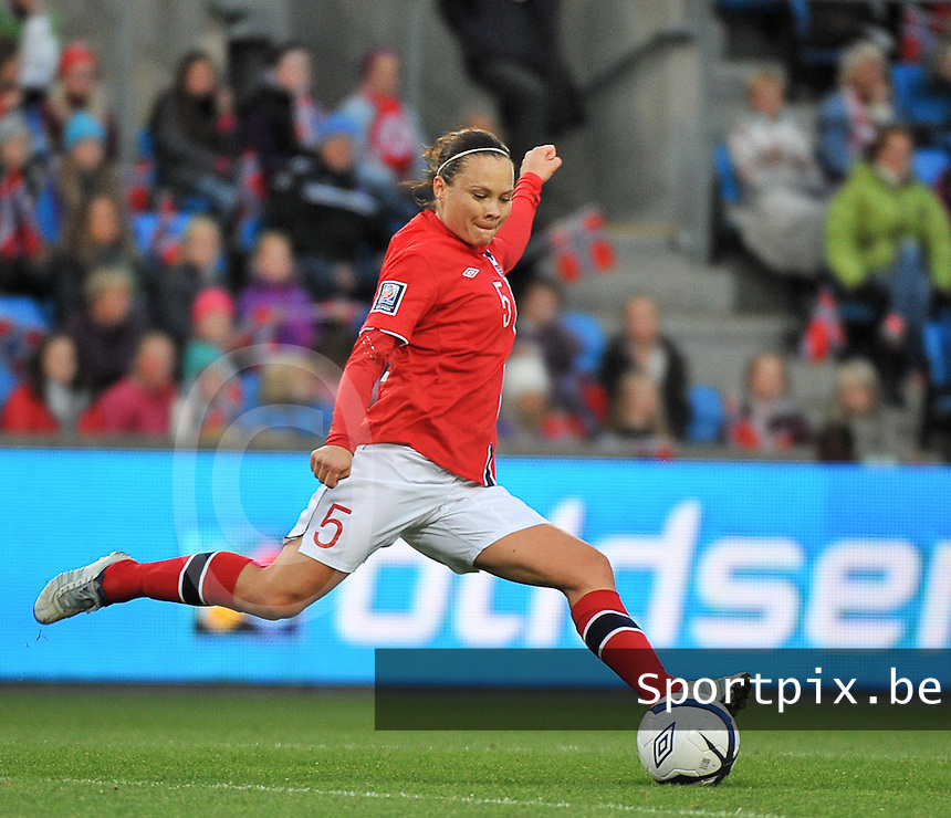 20130925 - OSLO , NORWAY : Norwegian Toril Akerhaugen pictured during the female soccer match between Norway and Belgium , on the second matchday in group 5 of the UEFA qualifying round to the FIFA Women World Cup in Canada 2015 at the Ullevaal Stadion , Oslo . Wednesday 25th September 2013. PHOTO DAVID CATRY
