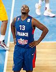 "France`s  Boris Diaw gestures during European basketball championship ""Eurobasket 2013"" semifinal basketball game between Spain and France in Stozice Arena in Ljubljana, Slovenia, on September 20. 2013. (credit: Pedja Milosavljevic  / thepedja@gmail.com / +381641260959)"