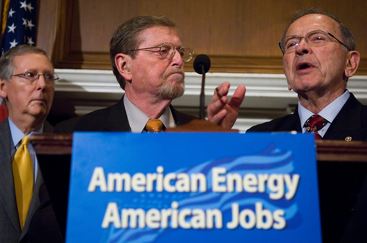 WASHINGTON, DC - May 01: Senate Majority Leader Mitch McConnell, R-Ky., Senate Energy ranking member Pete V. Domenici, R-N.M., and Sen. Ted Stevens, R-Alaska, a news conference introducing the American Energy Production Act of 2008, aimed at increasing domestic energy production Included in the legislation is a provision by Senator Jim Bunning to establish a program for coal-to-liquid fuels. (Photo by Scott J. Ferrell/Congressional Quarterly)