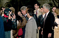 Washington, DC.,USA, December 8, 1992<br /> President-Elect William Jefferson Clinton and Vice-President-Elect Albert Gore Jr. walk down the front steps of the Supreme Court of the United States after their meeting with the members of the Court. This is a tradional meeting that occurs prior to the swearing in of the newly elected President and Vice-President the following month on January 20th.<br /> After their meeting with the Justices, Clinton and Gore work the crowd and shake a few hands. Credit: Mark Reinstein/MediaPunch