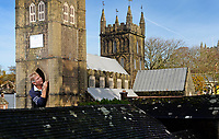 BNPS.co.uk (01202 558833)<br /> Pic: ZacharyCulpin/BNPS<br /> <br /> PICTURED: Volunteer, Mike Hopkins working on the miniature Wimborne Minster. <br /> <br /> A popular model village is being given an extensive winter clean in a bid to spruce it up ready for summer trade.<br /> <br /> The Wimborne Model Town in Dorset is currently undergoing extensive work ready for tourists to return next year.<br /> <br /> The scaled down buildings have all had their windows removed and will be painted in the coming months.<br /> <br /> The work is carried out by a team of volunteers, who often find themselves in uncompromising positions to reach the various nooks and crannies.<br /> <br /> While cleaning, the team have been known to fully squeeze into the models in order to do a full and proper job.<br /> <br /> The village is set to reopen in March 2020.