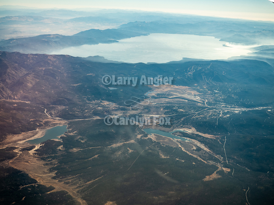 Lake Tahoe, California. America's Flyover country: Chicago Midway (MDW) to Sacramento International (SMF). A window seat view in autumn