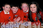 PUPILS: Pupils from Derryquay National School, Tralee who put their heads together at the Tralee Credit Union National School Table Quiz on Sunday in the Brandon Hotel, Tralee. L-r: Rian O'Sullivan, Robbie Murphy, Alan Enright and Victoria Keane................