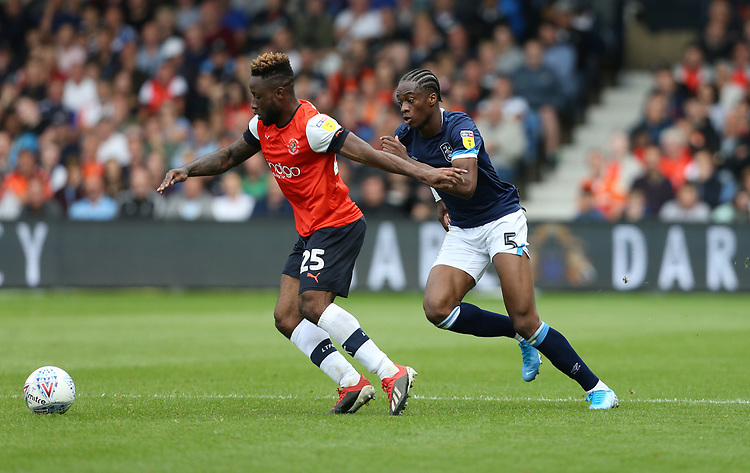 Luton Town's Kazenga LuaLua and Huddersfield Town's Terence Kongolo<br /> <br /> Photographer Rob Newell/CameraSport<br /> <br /> The EFL Sky Bet Championship - Luton Town v Huddersfield Town - Saturday 31 August 2019 - Kenilworth Stadium - Luton<br /> <br /> World Copyright © 2019 CameraSport. All rights reserved. 43 Linden Ave. Countesthorpe. Leicester. England. LE8 5PG - Tel: +44 (0) 116 277 4147 - admin@camerasport.com - www.camerasport.com