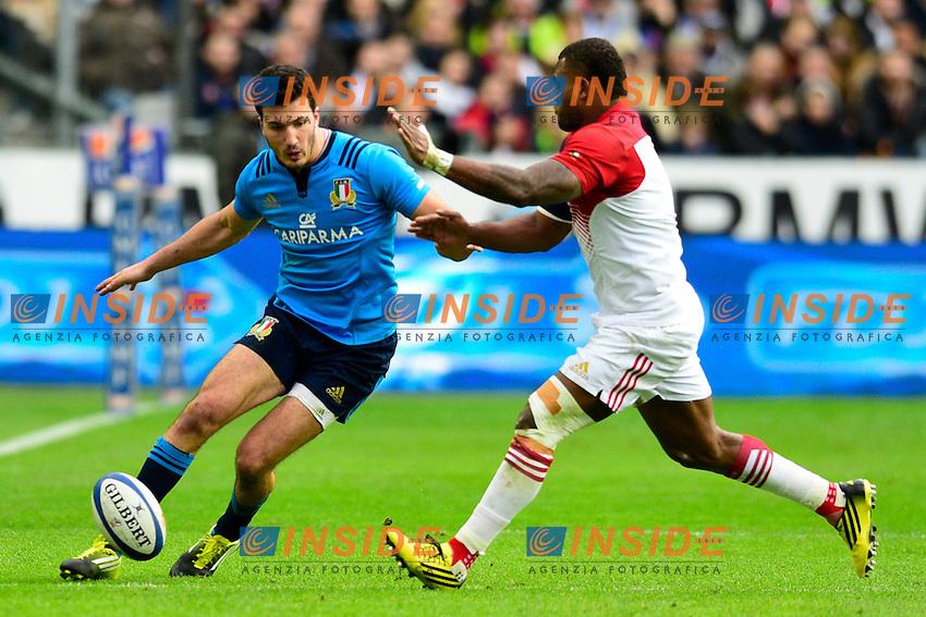 Leonardo Sarto ( Italie ) - Virimi Vakatawa ( France )  <br /> Parigi Saint Denis 06-02-2016 Rugby Trofeo 6 Nazioni 2016 Francia Italia Foto Pestellini/Panoramic/Insidefoto