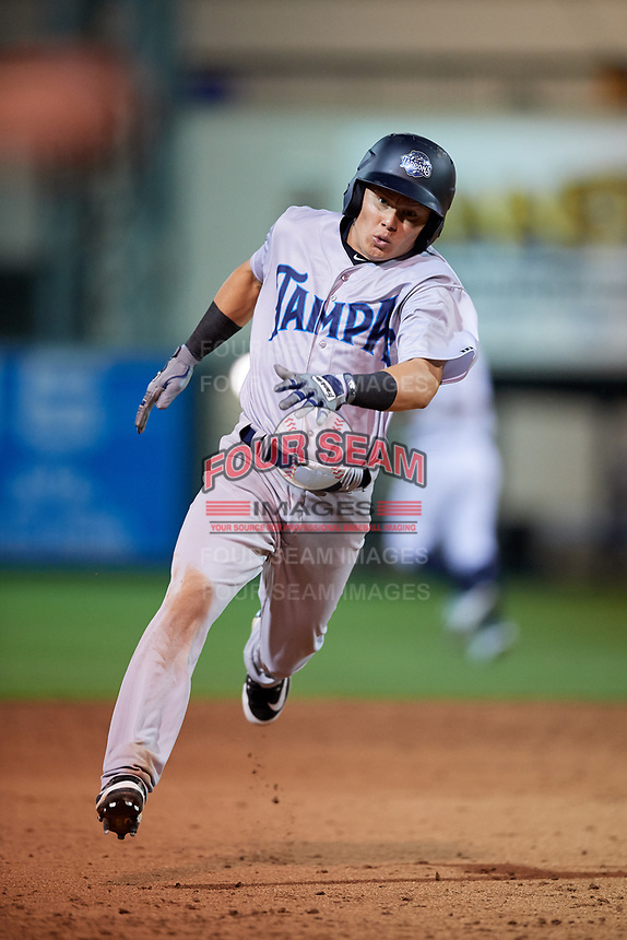 Tampa Tarpons shortstop Diego Castillo (19) runs the bases during a game against the Lakeland Flying Tigers on April 5, 2018 at Publix Field at Joker Marchant Stadium in Lakeland, Florida.  Tampa defeated Lakeland 4-2.  (Mike Janes/Four Seam Images)
