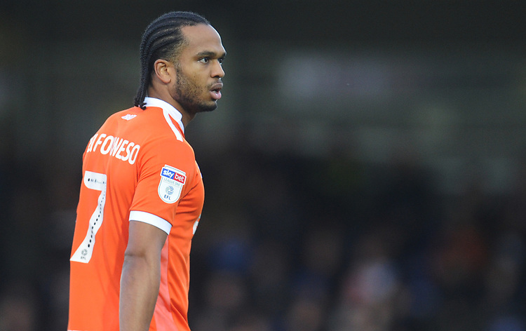 Blackpool's Nathan Delfouneso<br /> <br /> Photographer Kevin Barnes/CameraSport<br /> <br /> The EFL Sky Bet League One - AFC Wimbledon v Blackpool - Saturday 29th December 2018 - Kingsmeadow Stadium - London<br /> <br /> World Copyright © 2018 CameraSport. All rights reserved. 43 Linden Ave. Countesthorpe. Leicester. England. LE8 5PG - Tel: +44 (0) 116 277 4147 - admin@camerasport.com - www.camerasport.com
