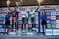U23 podium with:<br /> <br /> 1st place European U23 Champion Eli Iserbyt (BEL/Marlux-Napoleon Games<br /> 2nd place Yannick Peeters (BEL/Pauwels Sauzen-Vastgoedservice)<br /> 3th place Thomas Joseph (BEL/Marlux-Napoleon Games)<br /> <br /> <br /> U23 race<br /> Flandriencross Hamme / Belgium 2017