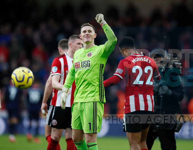 Dean Henderson of Sheffield Utd celebrates the win during the Premier League match at Bramall Lane, Sheffield. Picture date: 9th February 2020. Picture credit should read: Simon Bellis/Sportimage
