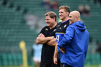 First team coach Neal Hatley, club captain Stuart Hooper and High Performance Manager Allan Ryan look on during the pre-match warm-up. West Country Challenge Cup match, between Bath Rugby and Exeter Chiefs on October 10, 2015 at the Recreation Ground in Bath, England. Photo by: Patrick Khachfe / Onside Images