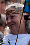 Alexandra Morton leads thousands of protesters  at  the Get Out Migration Rally, in Victoria, BC on May 8th, 2010.  Morton, an outspoken opponent of fish farming practices,  walked from Sointula to Victoria to protest open-net salmon  farming.  Photo by Gus Curtis