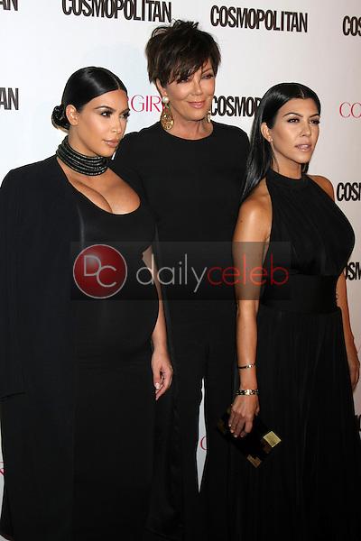 Kim Kardashian West, Kris Jenner, Kourtney Kardashian<br /> at the Cosmopolitan Magazine's 50th Anniversary Party, Ysabel, Los Angeles, CA 10-12-15<br /> David Edwards/DailyCeleb.com 818-249-4998