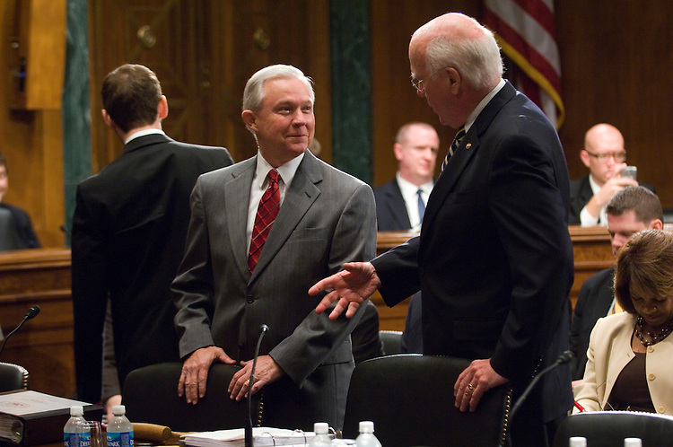 """WASHINGTON, DC - Sept. 17: Ranking member Jeff Sessions, R-Ala., and Chairman Patrick J. Leahy, D-Vt., talk before the Senate Judiciary markup of S 448 and HR 985, both called the """"Free Flow of Information Act of 2009,"""" S 369, the """"Preserve Access to Affordable Generics Act,"""" and the nominations of Paul Joseph Fishman to be U.S. attorney for the District of New Jersey and Jenny A. Durkan to be U.S. attorney for the Western District of Washington. (Photo by Scott J. Ferrell/Congressional Quarterly)"""