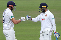 Nick Browne (left) and Murali Vijay touch gloves between overs during Nottinghamshire CCC vs Essex CCC, Specsavers County Championship Division 1 Cricket at Trent Bridge on 10th September 2018