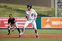 Detroit Tigers Parker Meadows (17) leads off second base during a Florida Instructional League game against the Pittsburgh Pirates on October 6, 2018 at Joker Marchant Stadium in Lakeland, Florida.  (Mike Janes/Four Seam Images)