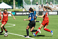 Kansas City, MO - Saturday May 13, 2017: Emily Menges, Sydney Leroux and Celeste Boureille compete during a regular season National Women's Soccer League (NWSL) match between FC Kansas City and the Portland Thorns FC at Children's Mercy Victory Field.