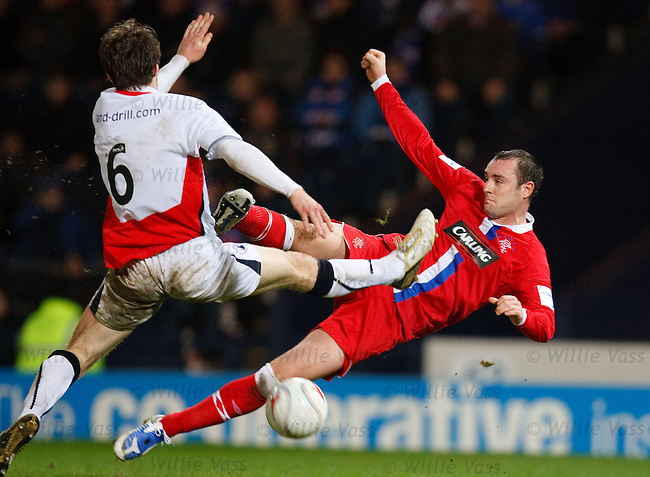 Kris Boyd goes close with a flying scissors kick