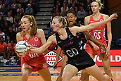 7th September 2017, Te Rauparaha Arena, Wellington, New Zealand; Taini Jamison Netball Trophy; New Zealand versus England;  Englands Helen Housby (L) takes a pass with Silver Ferns captain Katrina Grant pressing