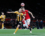 Luke Chadwick of Cambridge Utd challenges Paddy McNair of Manchester Utd   - FA Cup Fourth Round replay - Manchester Utd  vs Cambridge Utd - Old Trafford Stadium  - Manchester - England - 03rd February 2015 - Picture Simon Bellis/Sportimage