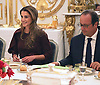 QUEEN RANIA WITH PRESIDENT FRANCOIS HOLLANDE<br /> at a dinner hosted by him at the at the &Eacute;lys&eacute;e Palace, Paris_17/9/2014<br /> Mandatory Photo Credit: &copy;Royal Hashemite Court/NEWSPIX INTERNATIONAL<br /> <br /> **ALL FEES PAYABLE TO: &quot;NEWSPIX INTERNATIONAL&quot;**<br /> <br /> PHOTO CREDIT MANDATORY!!: NEWSPIX INTERNATIONAL(Failure to credit will incur a surcharge of 100% of reproduction fees)<br /> <br /> IMMEDIATE CONFIRMATION OF USAGE REQUIRED:<br /> Newspix International, 31 Chinnery Hill, Bishop's Stortford, ENGLAND CM23 3PS<br /> Tel:+441279 324672  ; Fax: +441279656877<br /> Mobile:  0777568 1153<br /> e-mail: info@newspixinternational.co.uk