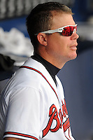Atlanta Brave Chipper Jones #10 during a game against the Colorado Rockies at Turner Field on September 3, 2012 in Atlanta, Georgia. The Braves  defeated the Rockies 6-1. (Tony Farlow/Four Seam Images).