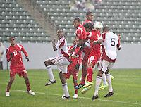 CARSON, CA - March 25, 2012: Kevan George (5) of Trinidad & Tobago during the Panama vs Trinidad & Tobago match at the Home Depot Center in Carson, California. Final score Panama 1, Trinidad & Tobago 1.
