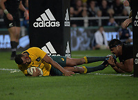 Kurtley Beale scores during the Rugby Championship and Bledisloe Cup rugby match between the New Zealand All Blacks and Australia Wallabies at Forsyth Barr Stadium in Dunedin, New Zealand on Saturday, 26 August 2017. Photo: Dave Lintott / lintottphoto.co.nz