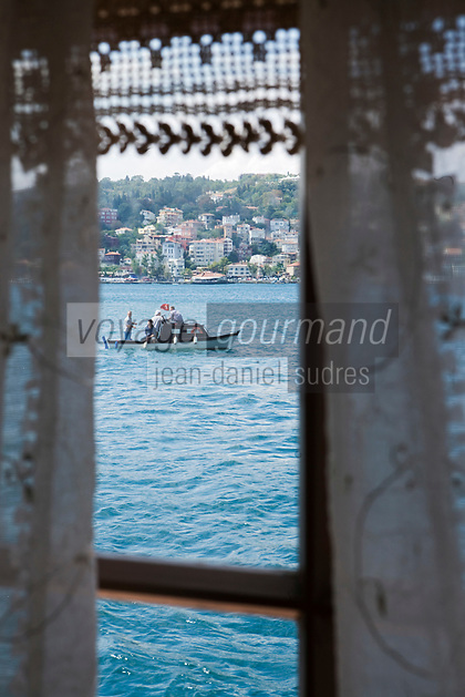Europe/Turquie/Istanbul :  Yali résidence d'été en bois sur le Bosphore  de Salih Efendi, mèdecin du Sultan Mahmutt II- la navigation sur le fleuve vue depuis une fenêtre d'un salon