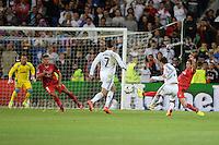Cardiff City Stadium, Cardiff, South Wales - Tuesday 12th Aug 2014 - UEFA Super Cup Final - Real Madrid v Sevilla - <br /> <br /> Real Madrid&rsquo;s Gareth Bale shoots for goal<br /> <br /> <br /> <br /> Photo by Jeff Thomas/Jeff Thomas Photography