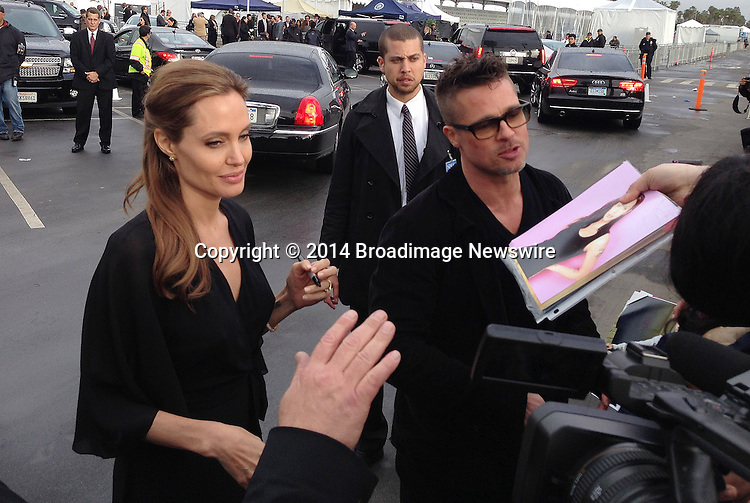 Pictured: Brad Pitt,  Angelina Jolie<br /> Mandatory Credit &copy; CALA/Broadimage<br /> Brad Pitt and Angelina Jolie arriving at the 2014 Independent Spirit Awards<br /> <br /> 3/1/14, Santa Monica, California, United States of America<br /> <br /> Broadimage Newswire<br /> Los Angeles 1+  (310) 301-1027<br /> New York      1+  (646) 827-9134<br /> sales@broadimage.com<br /> http://www.broadimage.com