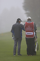 Fabrizio Zanotti (PAR) prepares to play his 2nd shot in the mist on the 17th hole during Sunday's fog delayed Round 3 of the 2017 Omega European Masters held at Golf Club Crans-Sur-Sierre, Crans Montana, Switzerland. 10th September 2017.<br /> Picture: Eoin Clarke | Golffile<br /> <br /> <br /> All photos usage must carry mandatory copyright credit (&copy; Golffile | Eoin Clarke)