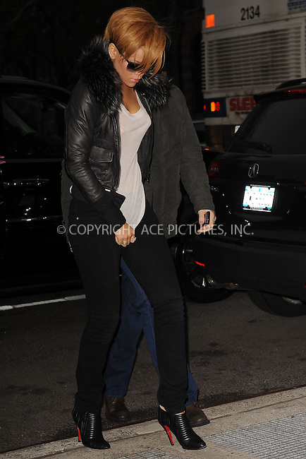 WWW.ACEPIXS.COM . . . . . ....November 25 2009, New York City....Singer Rihanna arriving at a radio station in Manhattan on November 25 2009 in New York City....Please byline: KRISTIN CALLAHAN - ACEPIXS.COM.. . . . . . ..Ace Pictures, Inc:  ..(212) 243-8787 or (646) 679 0430..e-mail: picturedesk@acepixs.com..web: http://www.acepixs.com