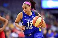 Washington, DC - August 12, 2018: Dallas Wings guard Allisha Gray (15) drives to the basket during game between the Washington Mystics and the Dallas Wings at the Capital One Arena in Washington, DC. (Photo by Phil Peters/Media Images International)