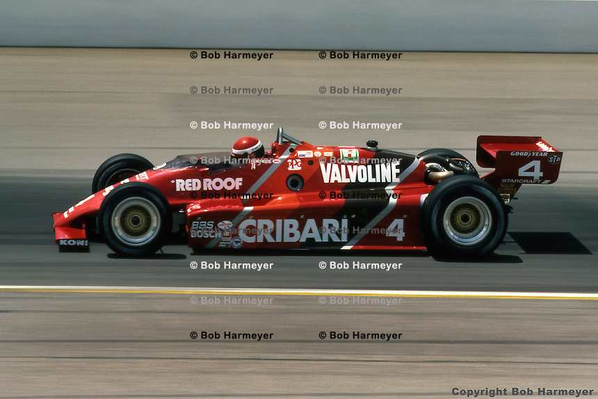 Bobby Rahal drives a March 83C Cosworth during the 1983 Indy 500 auto race in Indianapolis, Indiana.