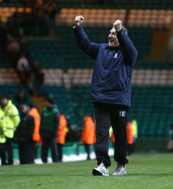 Terry Butcher on the pitch celebrating with the Caley fans at the end